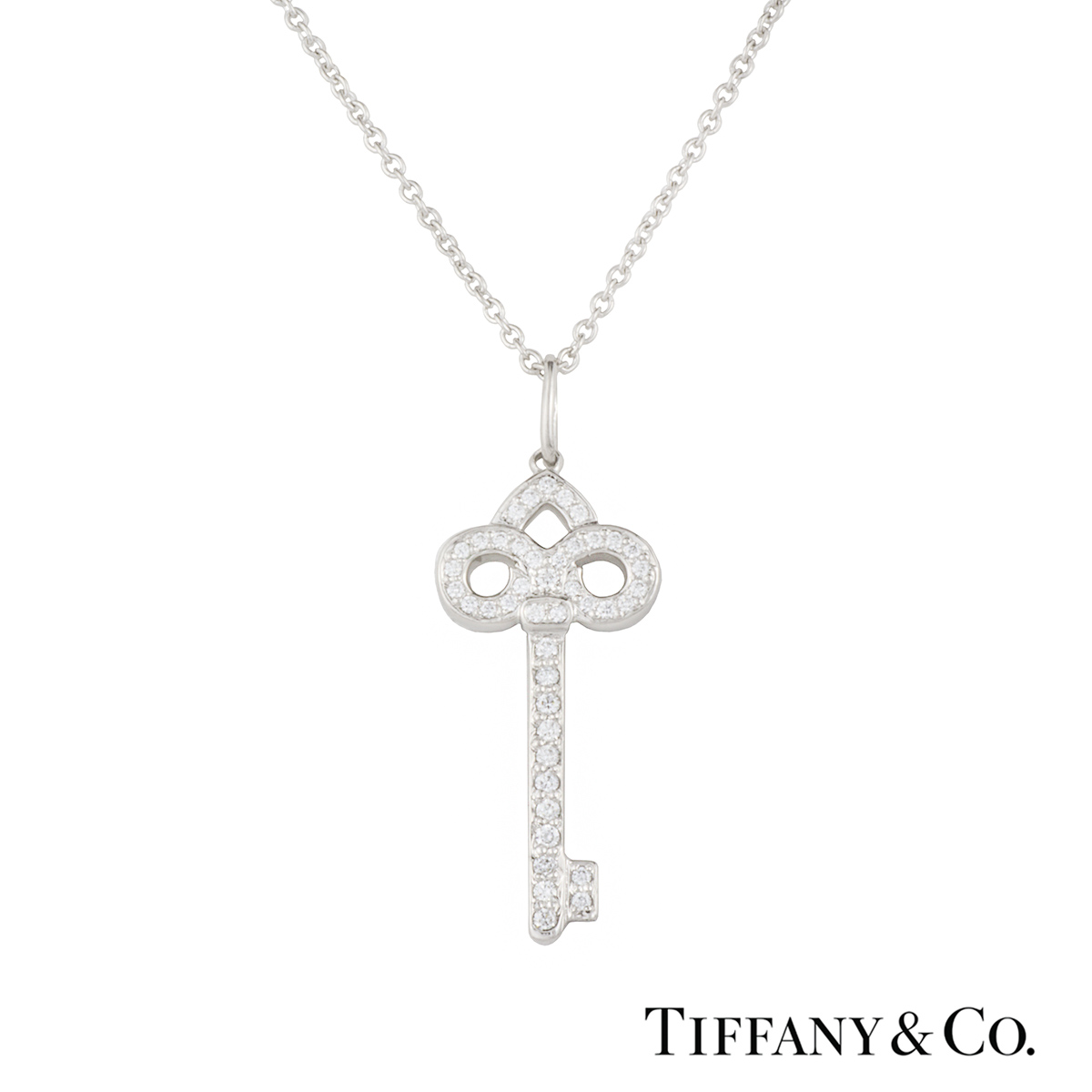 Tiffany co diamond set fleur de lis key pendant in platinum diamond set fleur de lis key pendant in platinum aloadofball Images